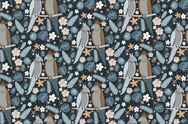 Hermosa pareja de loros rodeada de flores