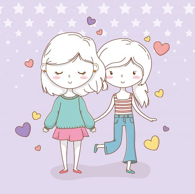 Hermosa pareja de niñas con colores pastel y corazones