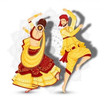 Hermosa pareja personaje bailando garba plantean sobre fondo floral mandala blanco.