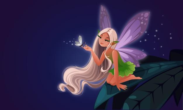 Hermosa pequeña hada en la hoja jugando con mariposas