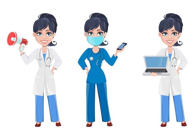 Hermosa personaje de dibujos animados médico. conjunto