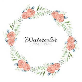 Hermosa pintura acuarela rosa flor círculo marco