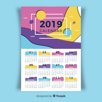 Hermosa plantilla de calendario de 2019