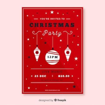 Hermosa plantilla de cartel de fiesta de navidad