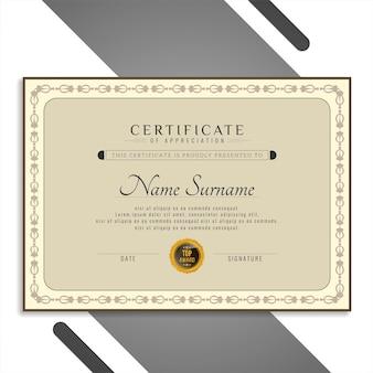 Hermosa plantilla de certificado elegante vector gratuito