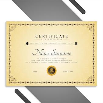 Hermosa plantilla de certificado elegante