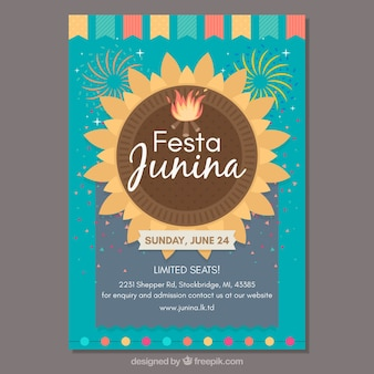 Hermosa plantilla de cover creativo de festa junina