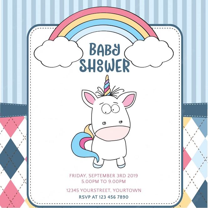 Hermosa plantilla de tarjeta de baby shower