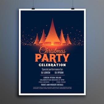 Hermosa plantilla de diseño de flyer de celebración de fiesta de navidad