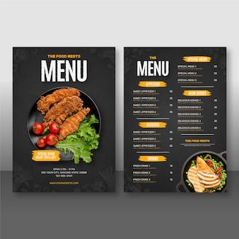 Hermosa plantilla de diseño de menú de comida