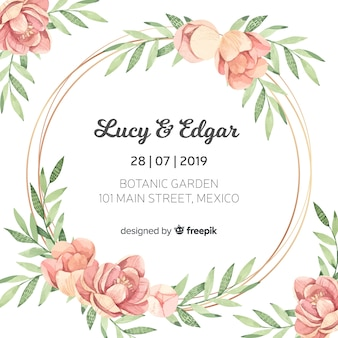 Hermosa plantilla floral de invitación de boda