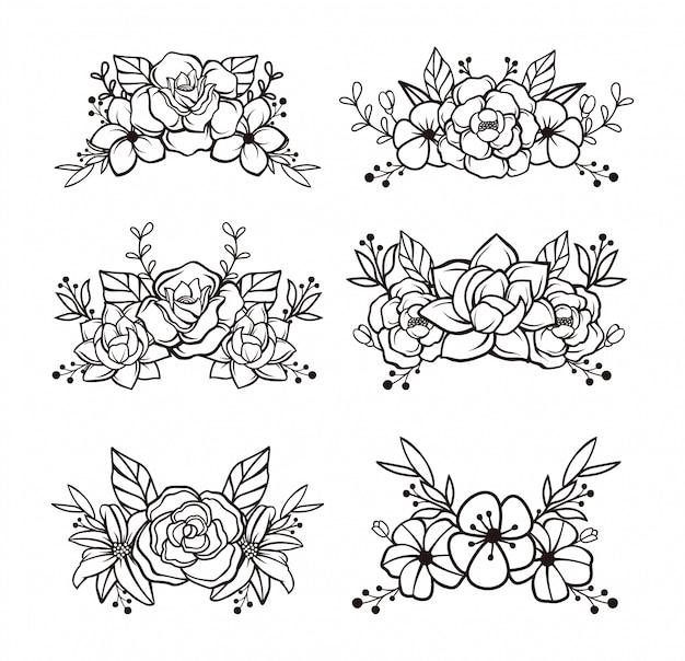 Hermosa plantilla floral dibujada a mano