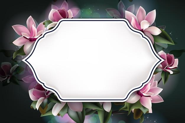 Hermosa plantilla de fondo de flores de primavera con espacio de copia y marco