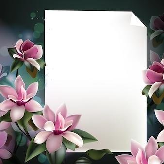 Hermosa plantilla de fondo de flores de primavera con papel y marco