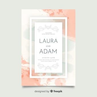 Hermosa plantilla de invitación de boda abstracta pintada a mano