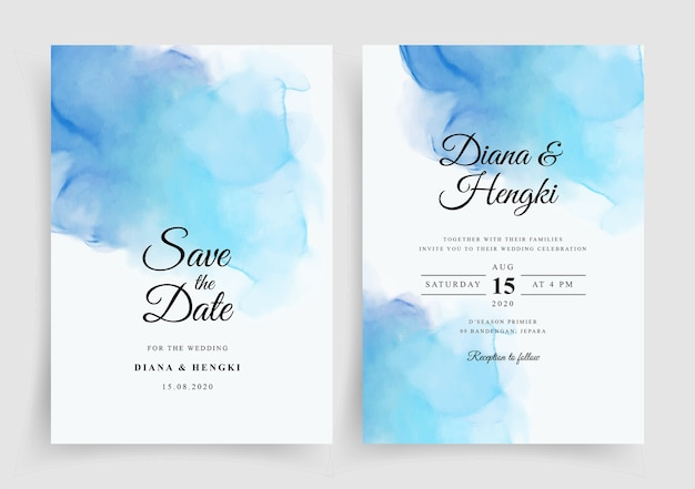 Hermosa plantilla de invitación de boda con acuarela pintada a mano