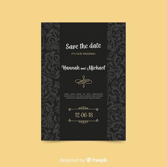 Hermosa plantilla de invitación de boda art deco