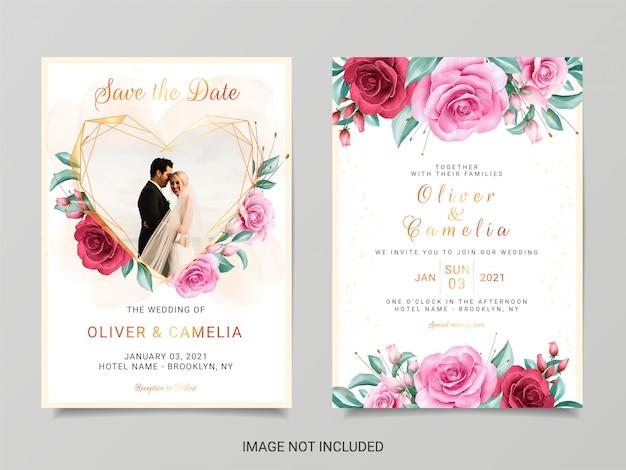 Hermosa plantilla de invitación de boda con decoración de flores de imagen y acuarela