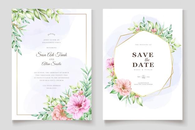 Hermosa plantilla de invitación de boda floral acuarela