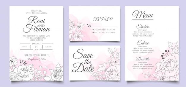 Hermosa plantilla de invitación de boda floral con estilo dibujado a mano