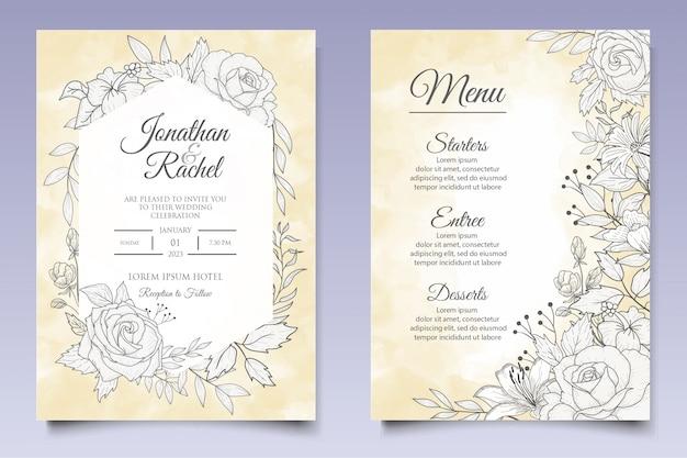 Hermosa plantilla de invitación de boda floral con estilo lineart