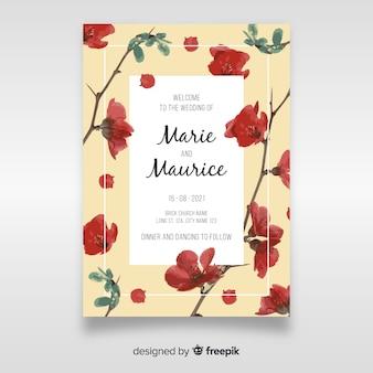 Hermosa plantilla de invitación de boda floral