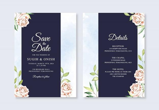 Hermosa plantilla de invitación de boda con flores de acuarela