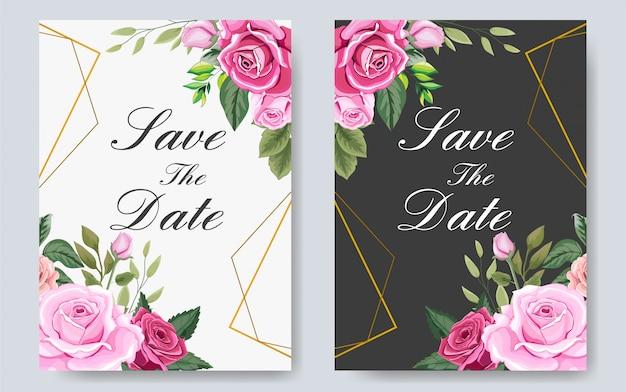 Hermosa plantilla de invitación de boda con flores