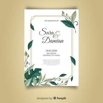 Hermosa plantilla de invitación de boda con hojas y marco dorado