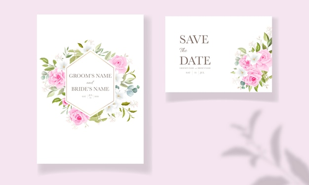 Hermosa plantilla de invitación de boda con marco floral rosa suave y decoración de borde