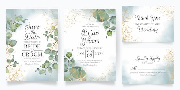 Hermosa plantilla de invitación de boda con marco floral