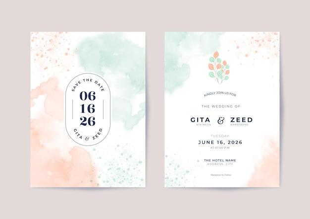 Hermosa plantilla de invitación de boda minimalista