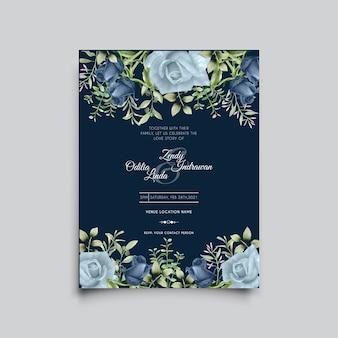 Hermosa plantilla de invitación de boda de rosas azules dibujadas a mano