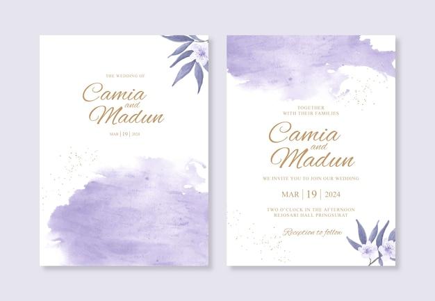 Hermosa plantilla de invitación de boda con salpicaduras de acuarela de pintura a mano