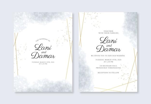 Hermosa plantilla de invitación de boda con salpicaduras geométricas de oro y acuarela