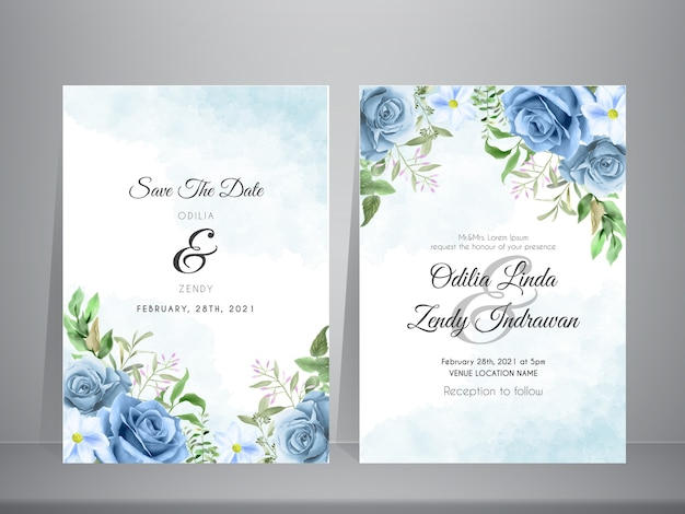 Hermosa plantilla de invitación de boda con tema de acuarela de rosas azules