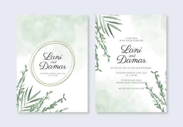 Hermosa plantilla de invitación de boda con toques de acuarela y plantas