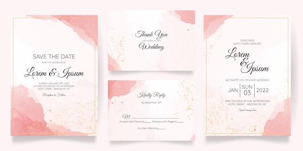 Hermosa plantilla de invitación de tarjeta de boda con acuarela splash