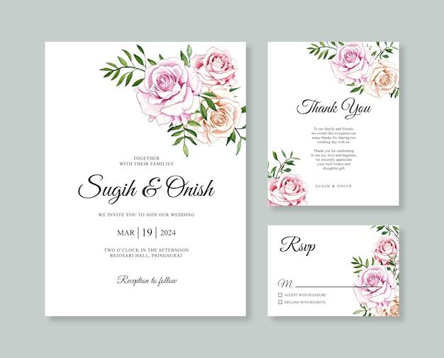 Hermosa plantilla de invitación de tarjeta de boda con flor de acuarela