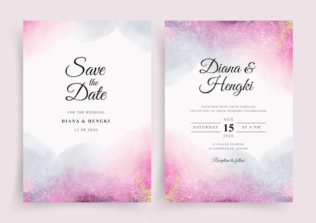 Hermosa plantilla de invitación de tarjeta de boda con fondo de salpicaduras de acuarela