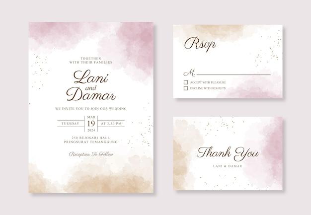 Hermosa plantilla de invitación de tarjeta de boda con salpicaduras de acuarela