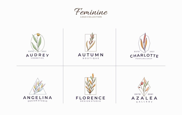 Hermosa plantilla de logotipos minimalistas botánicos femeninos