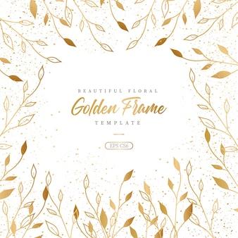 Hermosa plantilla de marco dorado floral