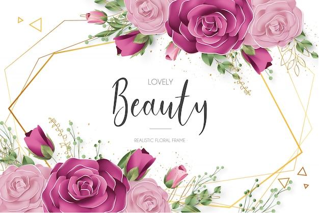 Hermosa plantilla de marco floral realista