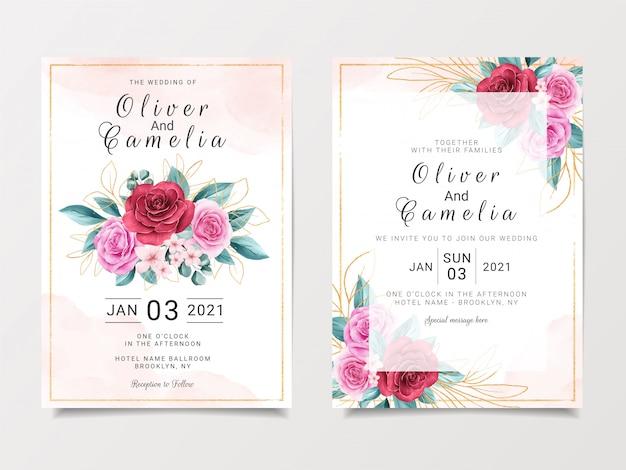 Hermosa plantilla de papelería de invitación de boda con acuarela floral y brillo dorado
