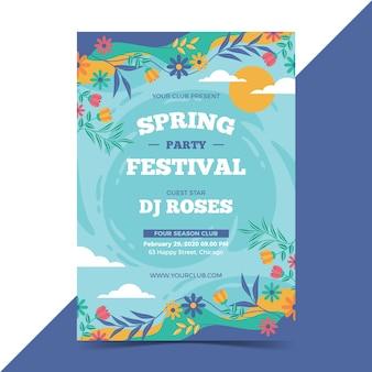 Hermosa plantilla de póster de primavera