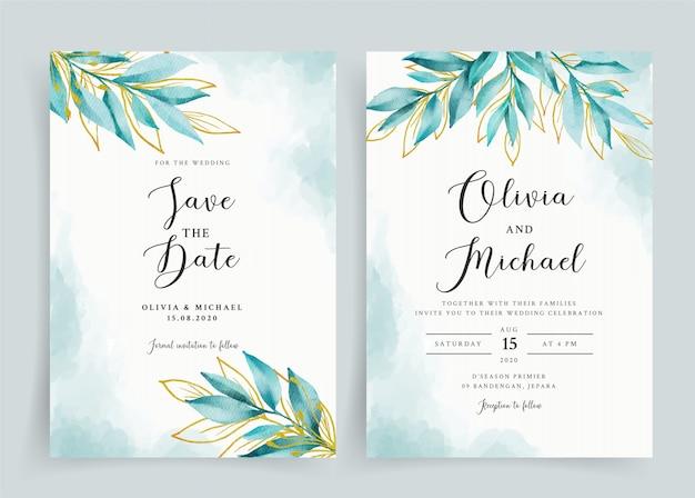 Hermosa plantilla de tarjeta de boda acuarela azul marino y oro