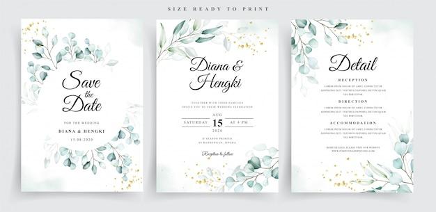 Hermosa plantilla de tarjeta de boda de acuarela de eucalipto suave