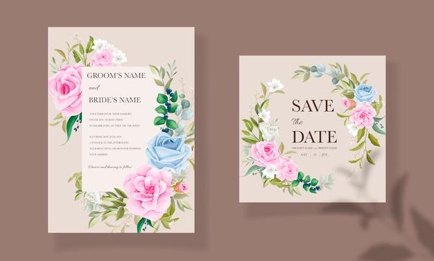 Hermosa plantilla de tarjeta de boda dibujada a mano con ramo floral y decoración de borde