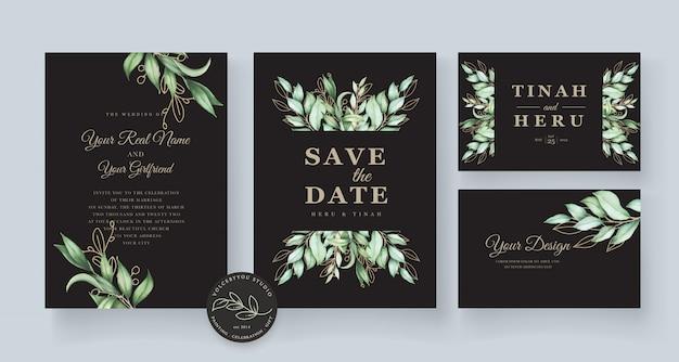 Hermosa plantilla de tarjeta de boda dibujada a mano